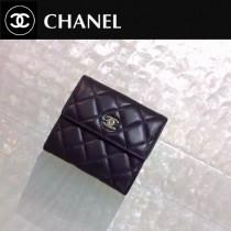 CHANEL 0201-2 潮流最新款Wallet黑色原版皮金扣短款錢包