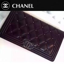 CHANEL 0196 時尚朋克風LEBOY系列黑色原版皮雙車線鉚釘款兩折錢包