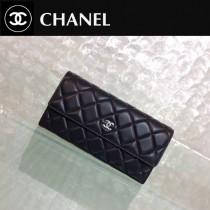 CHANEL 0204 時尚經典款黑色原版皮銀扣長款錢包