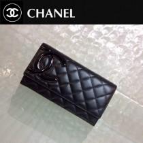 CHANEL 0208 時尚新款女士康朋系列黑色原版皮搭扣長款錢包