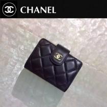 CHANEL 0211-3 秋冬新款實用黑色原版羊皮金扣多層風琴卡片夾
