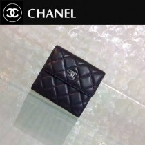 CHANEL 0201 潮流最新款Wallet黑色原版皮銀扣短款錢包