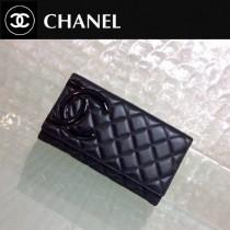 CHANEL 0209 歐美百搭新款康朋系列黑色原版皮三折長款錢包