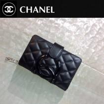 CHANEL 0206 歐美百搭康朋系列黑色原版皮搭扣中款錢包