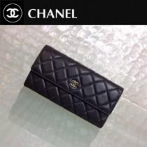 CHANEL 0204-2 時尚經典款黑色原版皮金扣長款錢包
