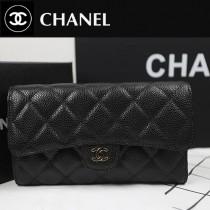 CHANEL A31506-02 歐美時尚新款原版球皮黑色女士錢夾