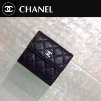 CHANEL 0202-2  時尚單品Wallet黑色原版魚子醬皮銀扣短款錢包