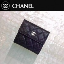 CHANEL 0202 時尚單品Wallet黑色原版魚子醬皮金扣短款錢包