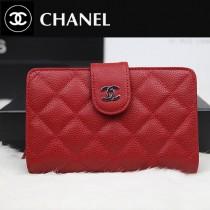 CHANEL A48667-01 歐美時尚新款原版球皮大紅色女士錢包