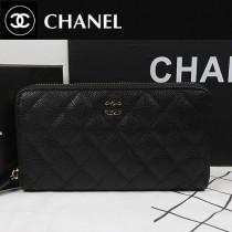 CHANEL A50097-03 歐美時尚新款原版球皮黑色金扣女士錢包