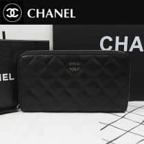 CHANEL A50097-06 歐美時尚新款原版羊皮黑色銀扣女士錢包