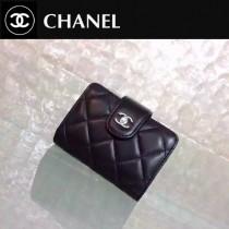 CHANEL 0211-2 秋冬新款實用黑色原版羊皮銀扣多層風琴卡片夾