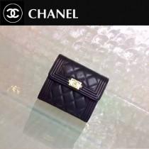 CHANEL 0200 歐美新款LEBOY系列黑色原版皮金扣短款錢包