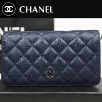 CHANEL A31509-01 人氣熱銷原版球紋寶藍色女士錢包