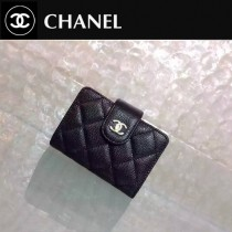 CHANEL 0211 秋冬新款實用黑色原版魚子醬皮金扣多層風琴卡片夾