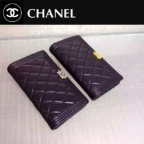 CHANEL 0195-3 人氣熱銷新款LEBOY系列黑色原版皮銀扣兩折錢包