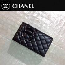 CHANEL 0207 時尚商務女士康朋系列黑色原版皮長款兩折錢包