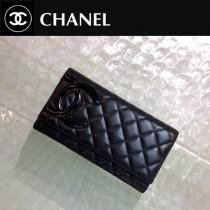 CHANEL 0210 人氣熱銷新款康朋系列黑色原版皮三折長款錢包