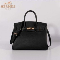 HERMES BK30-9 潮流時尚新款黑色荔枝紋金扣30cm手提單肩包鉑金包