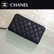 CHANEL 0217-3 時尚潮流單品PURSE黑色原版胎牛皮拉鏈錢包