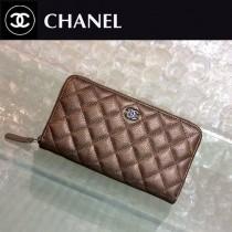 CHANEL 0217-2 時尚潮流單品PURSE香檳金原版胎牛皮拉鏈錢包