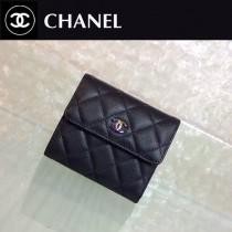 CHANEL 0216-2 人氣熱銷新款PURSE黑色原版胎牛皮配彩虹扣三折短夾