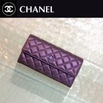 CHANEL 0218 名媛必備新款PURSE紫色原版胎牛皮兩折長款錢包