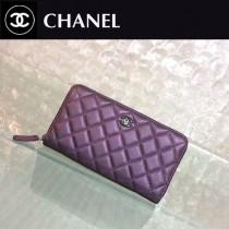 CHANEL 0217 時尚潮流單品PURSE紫色原版胎牛皮拉鏈錢包