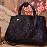 LV M50668 歐美時尚新款黑色全皮壓花女士手提斜背包