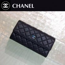 CHANEL 0218-2 名媛必備新款PURSE黑色原版胎牛皮兩折長款錢包