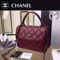 CHANEL A92236-8 名媛必備新款棗紅色原版羊皮銀扣手提單肩包