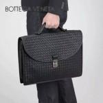 BV-00041 專櫃最新款男士黑色編織牛皮手提公文包