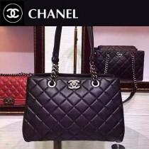 CHANEL 0208 歐美時間經典新款黑色小羊皮肩背包