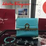 Ferragamo 22C373-5 專櫃最新款民族風孔雀藍原版皮短款兩折錢包