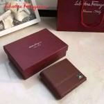 Ferragamo KD-669825-01 專櫃最新原版進口深棕色小牛皮男款橫版錢包