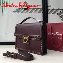 Ferragamo 21F329 專櫃最新款波西米亞風格棗紅色原版皮大號手提單肩包