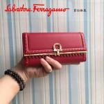 Ferragamo 22C348-4 復古民族風波西米亞風格紅色原版皮搭扣長款錢包