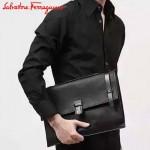 Ferragamo 249760 專櫃最新潮男原版進口珍珠魚紋牛皮手拿包