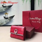 Ferragamo KB-224639-03 時尚爆款原版進口牛皮鱷魚紋小號法式錢包