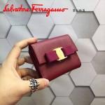 Ferragamo KB-22A926-8 名媛必備新款棗紅色原版皮短款兩折錢包