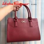 Ferragamo 21F317-3 專櫃最新款Gancino紅色原版皮手提肩背包托特包
