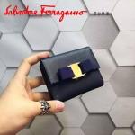 Ferragamo KB-22A926-7 名媛必備新款寶藍色原版皮短款兩折錢包