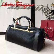 Ferragamo 21E926 專櫃最新款Micole Nero系列原單黑色牛皮配馬毛手提包圓筒包