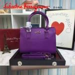 Ferragamo 21F317-2 專櫃最新款Gancino紫色原版皮手提肩背包托特包