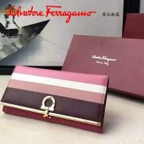 Ferragamo 22C413 專櫃最新款法式彩虹色系原版皮搭扣長款錢包