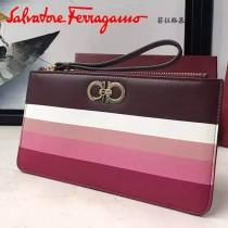 Ferragamo 22C420 時尚最新款復古彩虹色系原版皮長款手拿包手挽包