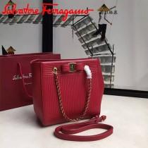 Ferragamo 21F496 專櫃同步獨家定制紅色原版水波紋手提單肩包