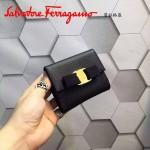 Ferragamo KB-22A926-6 名媛必備新款黑色原版皮短款兩折錢包