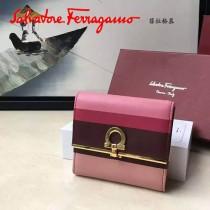 Ferragamo 22C414 專櫃最新款法式彩虹色系原版皮短款兩折錢包