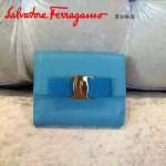Ferragamo KB-22A926-3 名媛必備新款孔雀藍原版皮短款兩折錢包